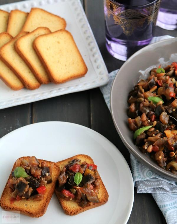 eggplant caponata on toast