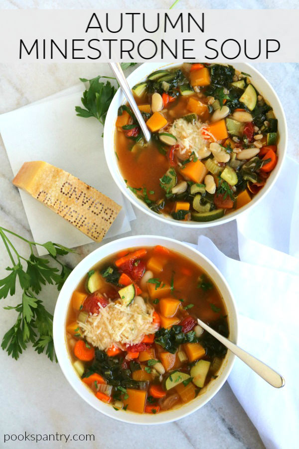 A hearty autumn minestrone soup made with butternut squash, kale, white beans and farro in a traditional tomato broth.