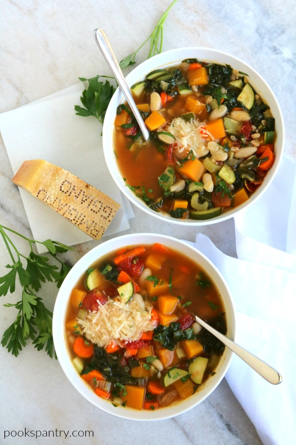 overhead photo of autumn minestrone for weekly meal plan
