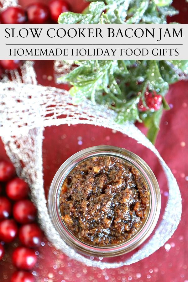 Make a batch of this slow cooker bacon jam for gift-giving this holiday season for all of your bacon-loving friends! Slow cooker bacon jam is the perfect mix of salty and sweet. #slowcookerrecipe #crockpotrecipe #baconjam #bacon #jamrecipe