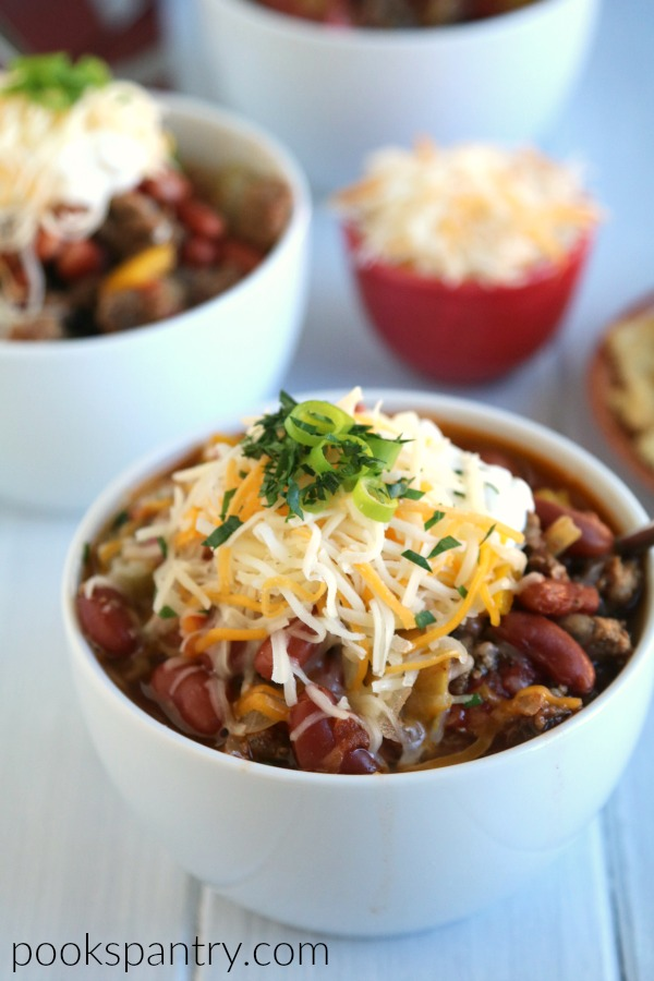 bowls of simple turkey chili with cheese