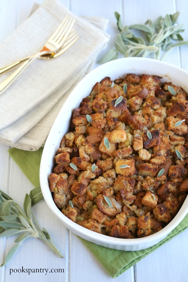 classic bread stuffing in white casserole baking dish
