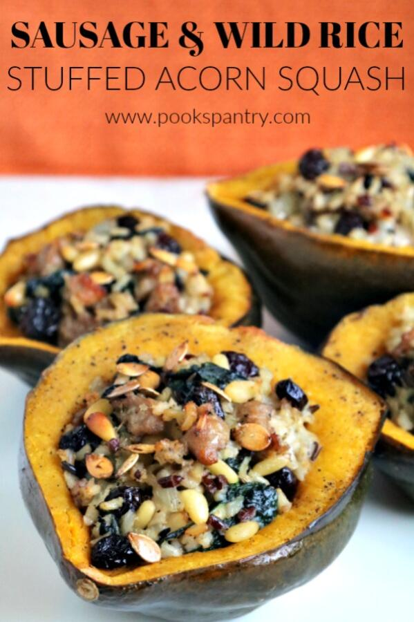 Italian sausage and wild rice stuffed acorn squash.
