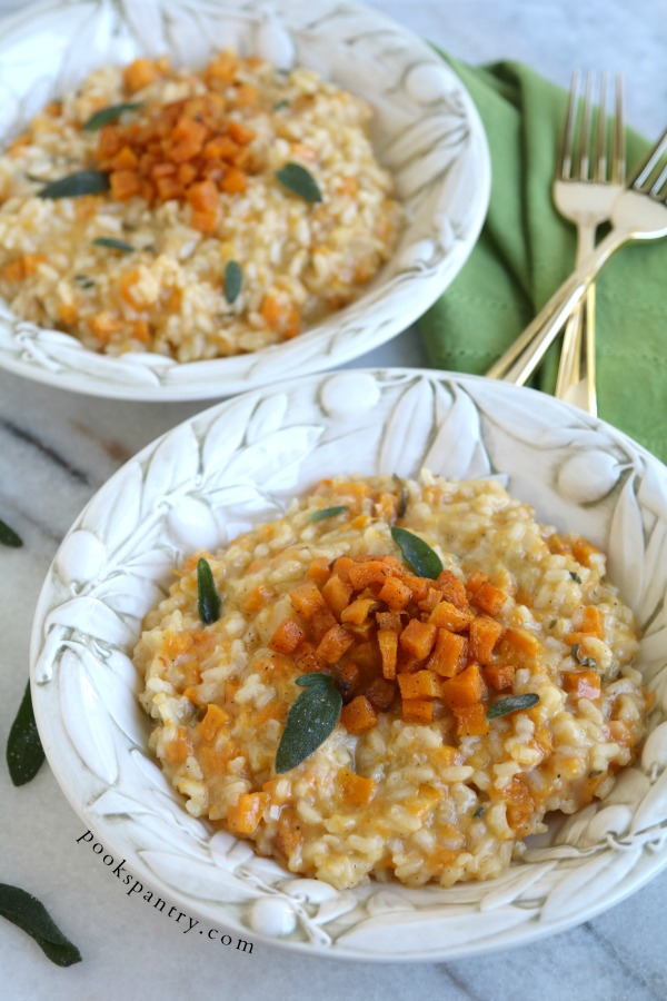 bowls of risotto with butternut squash