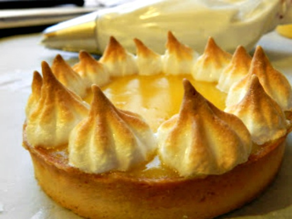 lemon tart with torched merigue