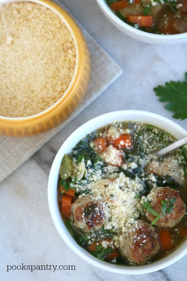 wedding soup with turkey meatballs and cheese