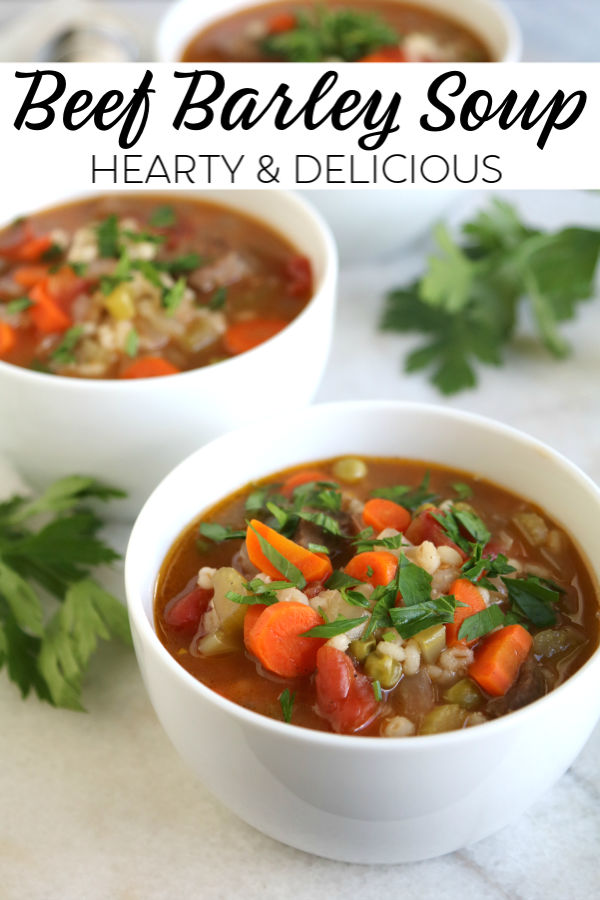 A rich and heart beef barley soup packed with vegetables. A complete and comforting meal in a bowl.