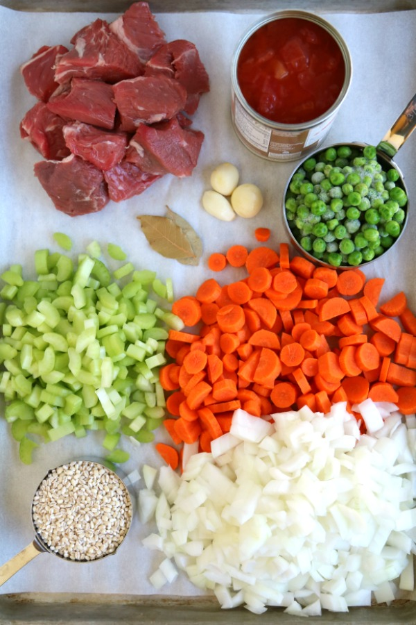 soup ingredients on sheet pan