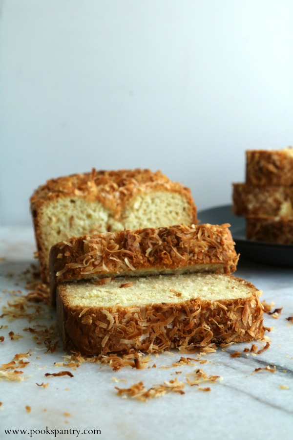 tropical coconut bread slices on marble board