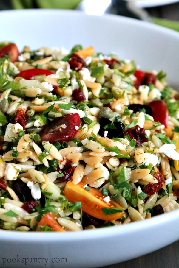 bowl of mediterranean orzo salad