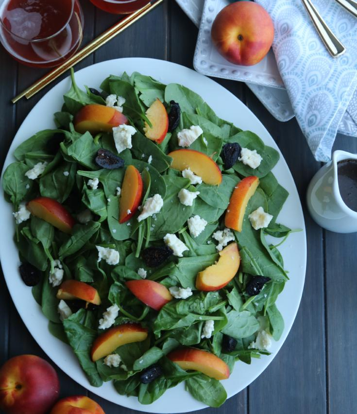 Nectarine Blue Cheese Spinach Salad