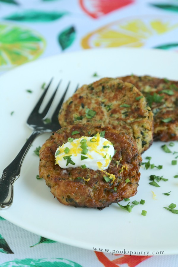 zucchini fritters on plate
