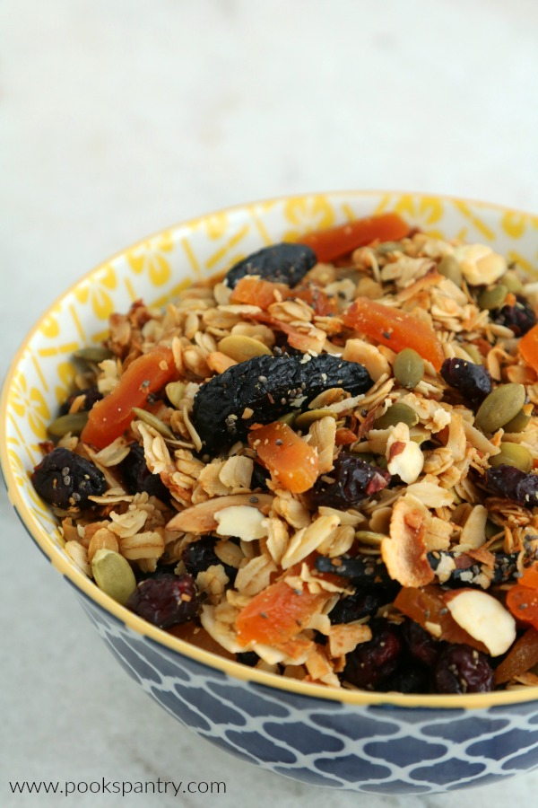 fruit and nut granola in blue and yellow bowl on marble counter