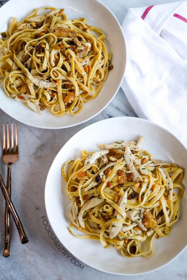 pasta with roast chicken for dinner divas weekly meal plan