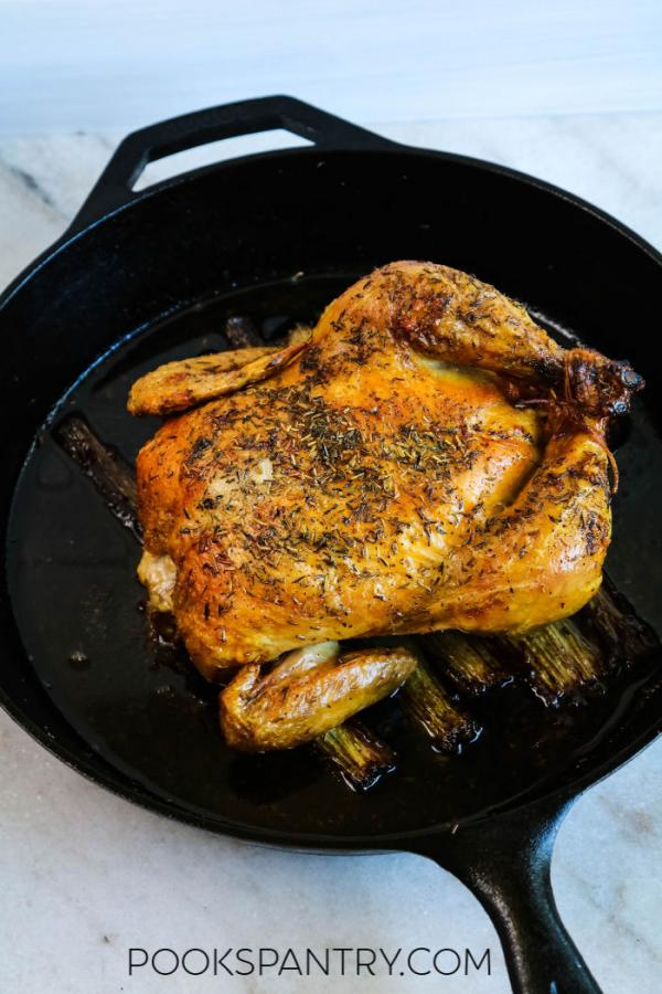 roasted chicken in cast iron pan