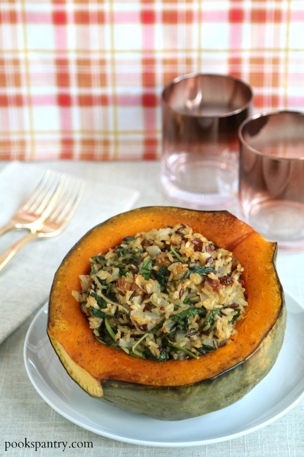 stuffed hubbard squash recipe on white plate