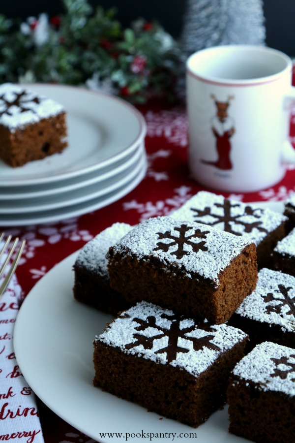 slices of gingerbread cake on white platter