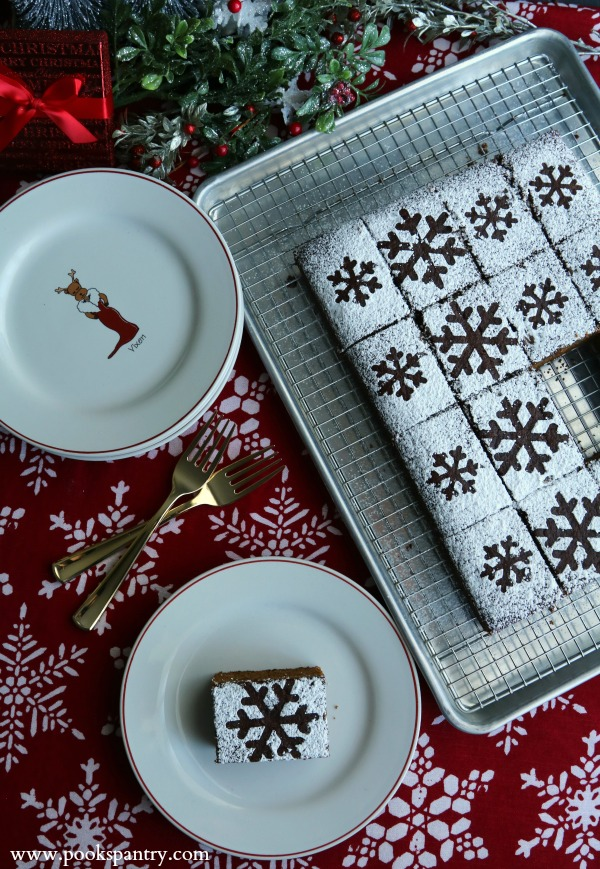 gingerbread slice on plate with cake