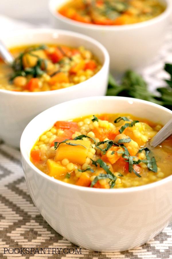 vegan vegetable soup in white bowl