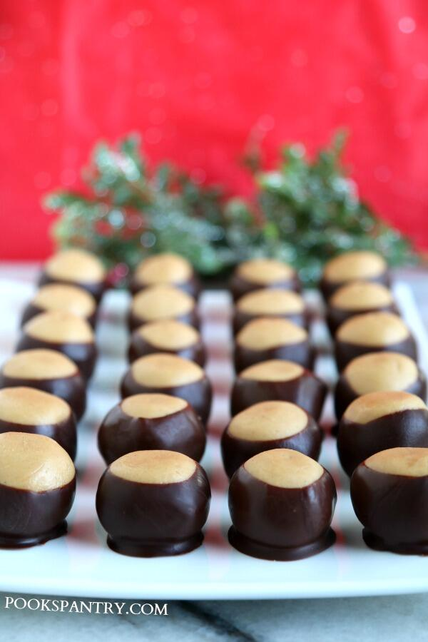 chocolate dipped peanut butter buckeyes