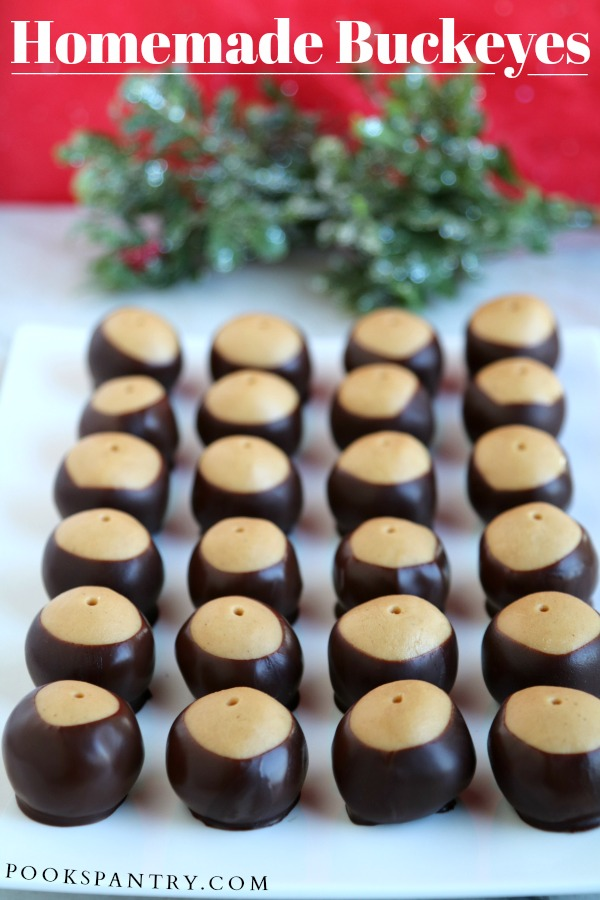 Homemade buckeyes are the perfect no bake treat for peanut butter and chocolate lovers. Recipes makes 4 dozen.