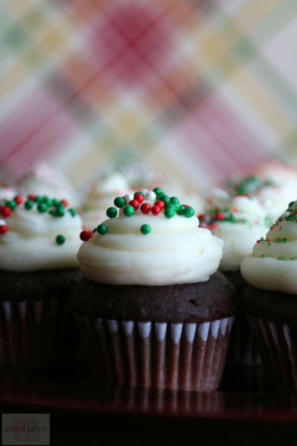 Peppermint Hot Chocolate Cupcakes | Pook's Pantry