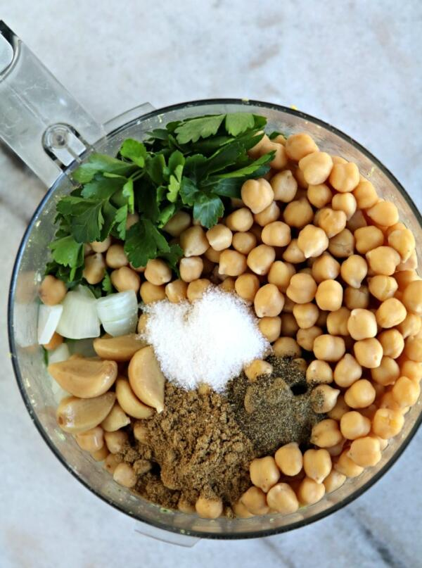 falafel ingredients in food processor bowl