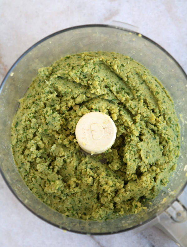 making falafel mixture in food processor