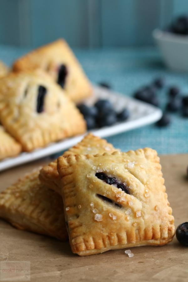 blueberry mini pies with coarse sugar