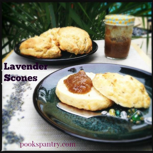 lavender scones on blue plate