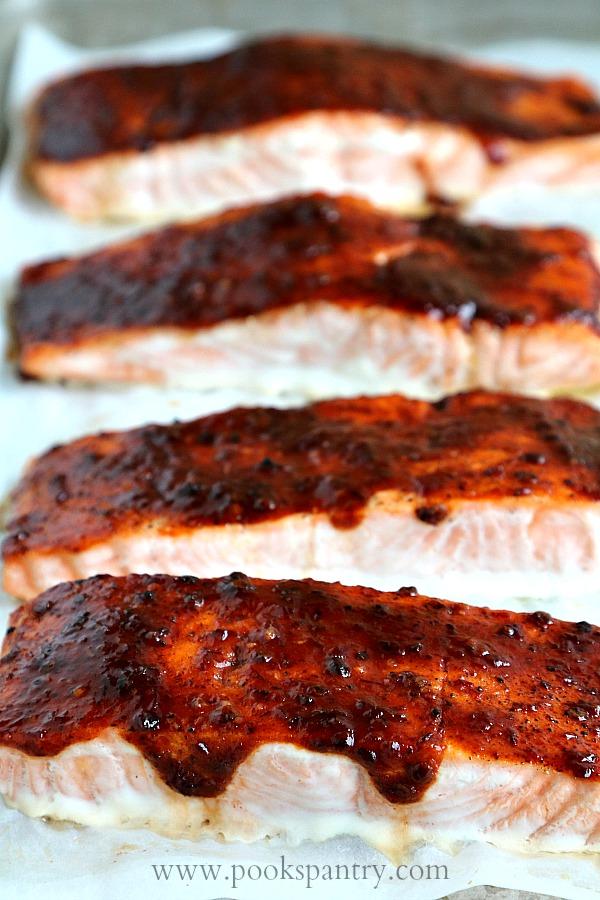 honey chipotle salmon on sheet pan