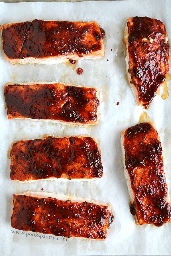 overhead view of salmon on sheet pan