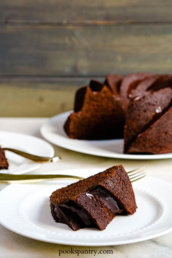 slice of chocolate bundt cake