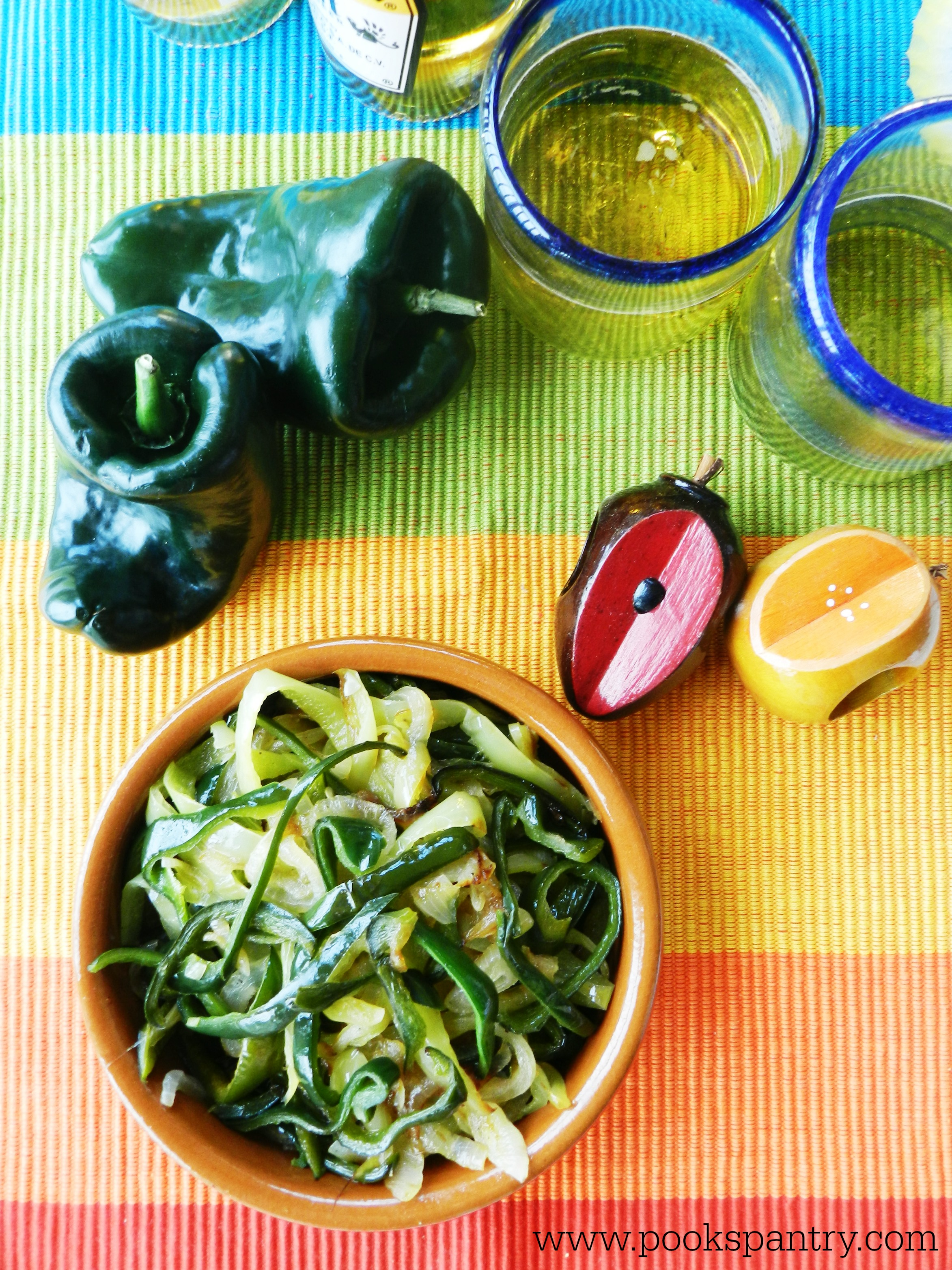 Rajas with Poblano Peppers and mexican glass