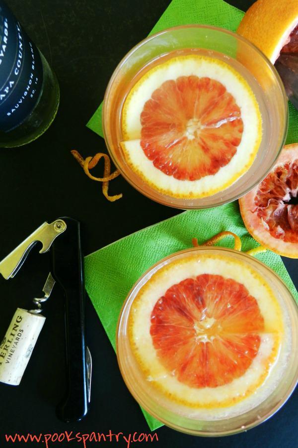 overhead photo of blood orange spritzers