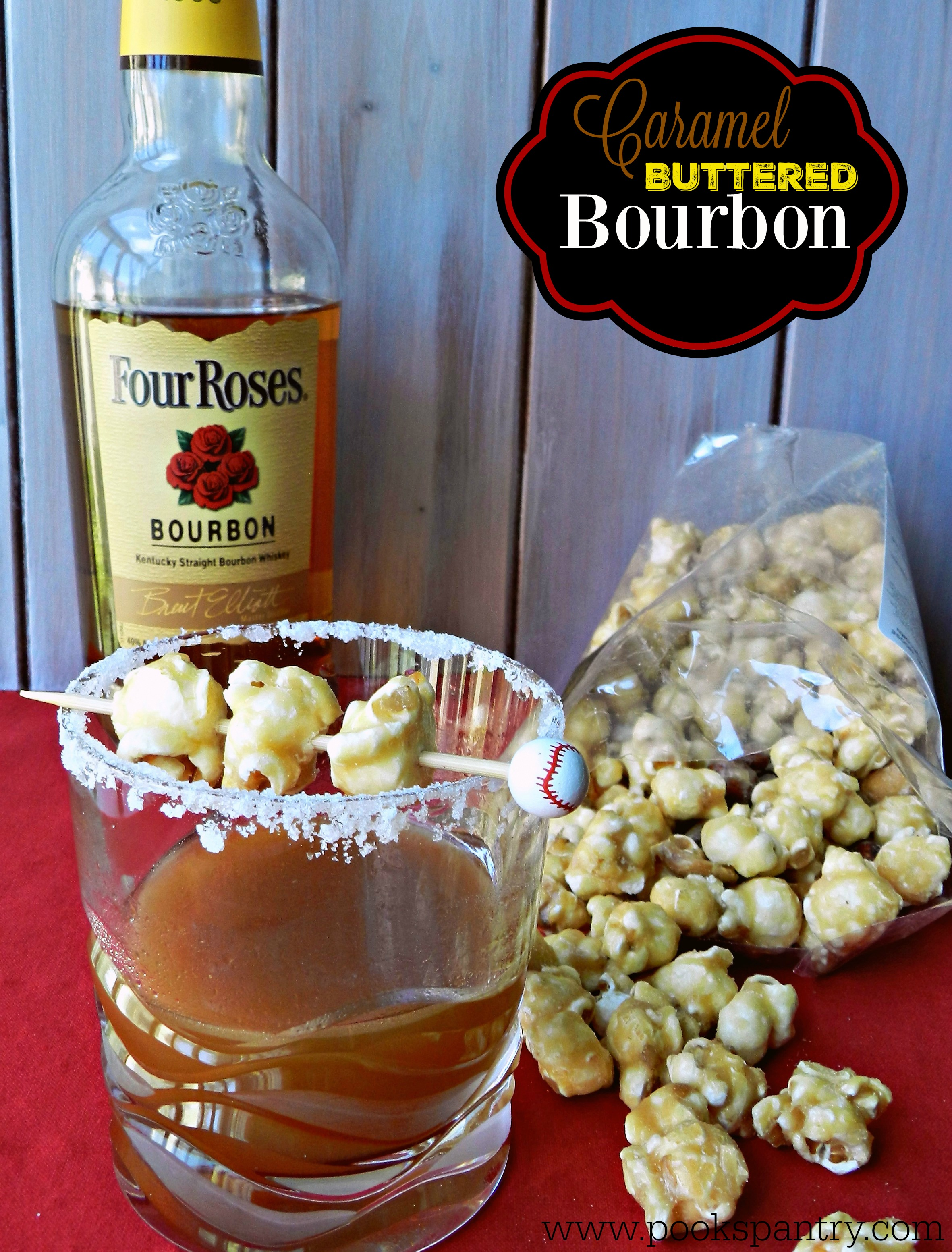 buttered bourbon with bottle of bourbon and caramel corn