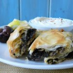 Mushroom, Kalamata Olive and Feta- stuffed Phyllo with Whipped Feta Dip