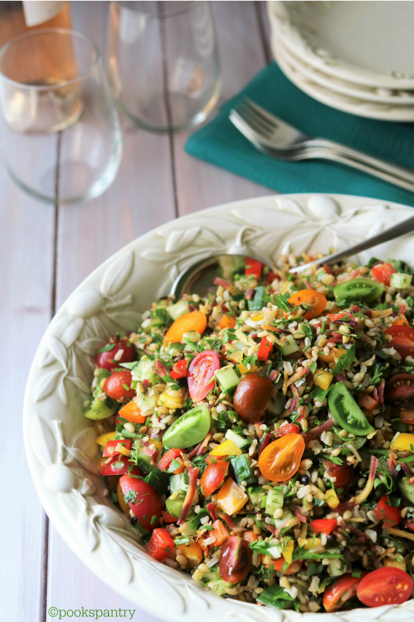 Summer Grain Salad with Rainbow Carrots, Heirloom Tomatoes and Herbs