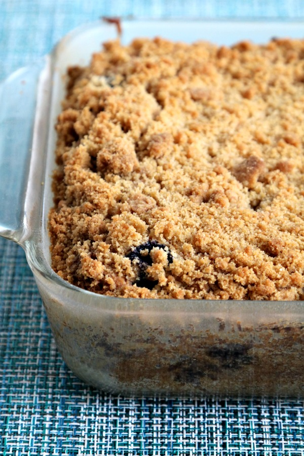 coffee crumb cake in baking dish