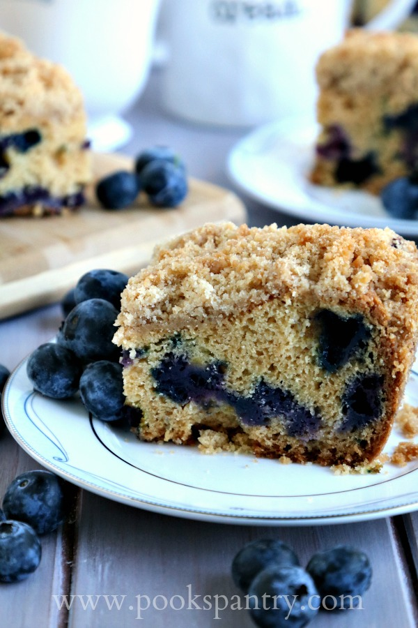 crumb cake on china plate with blueberries