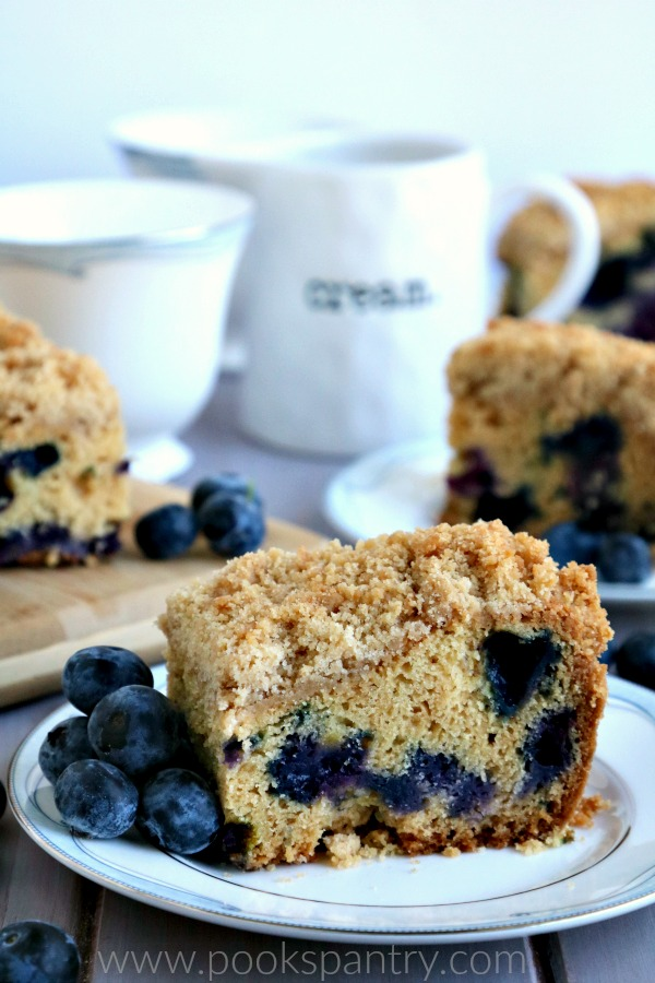 slice of crumb cake on china plate with blueberries