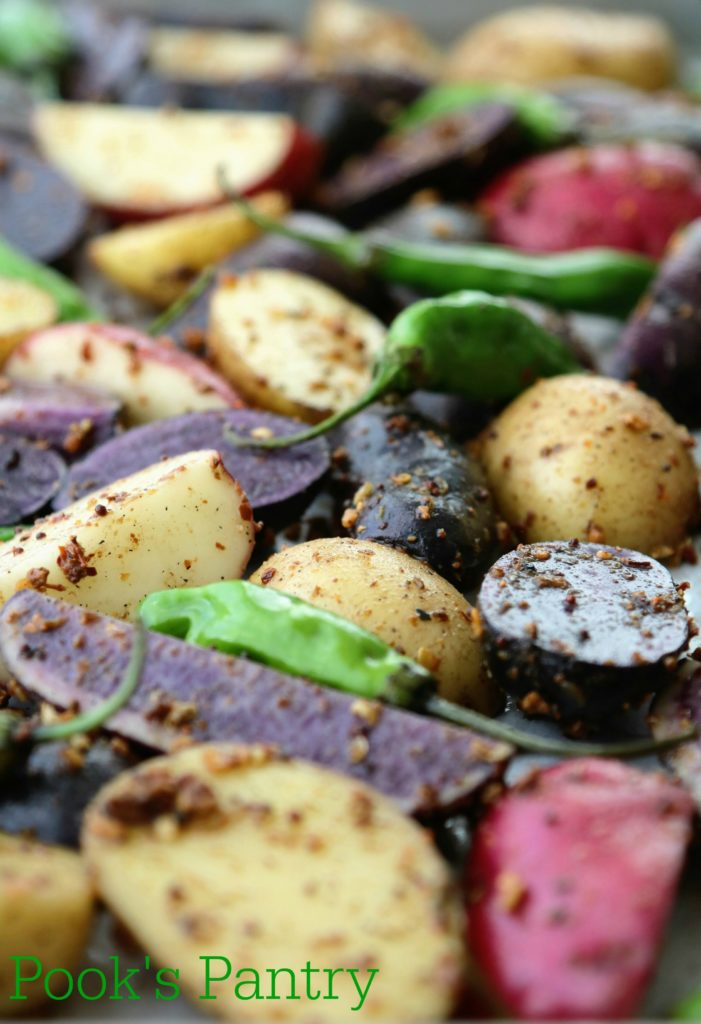 raw fingerling potatoes with shishito peppers