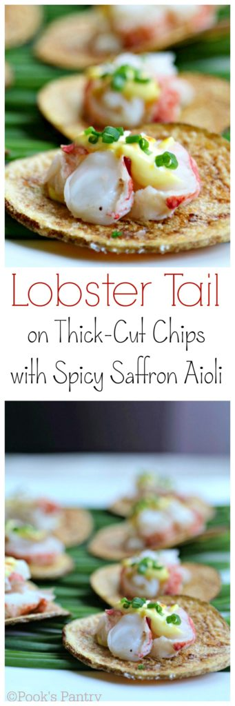 Lobster on Thick-Cut Idaho® Potato Chips with Spicy Saffron Aioli and Chives - Pook's Pantry