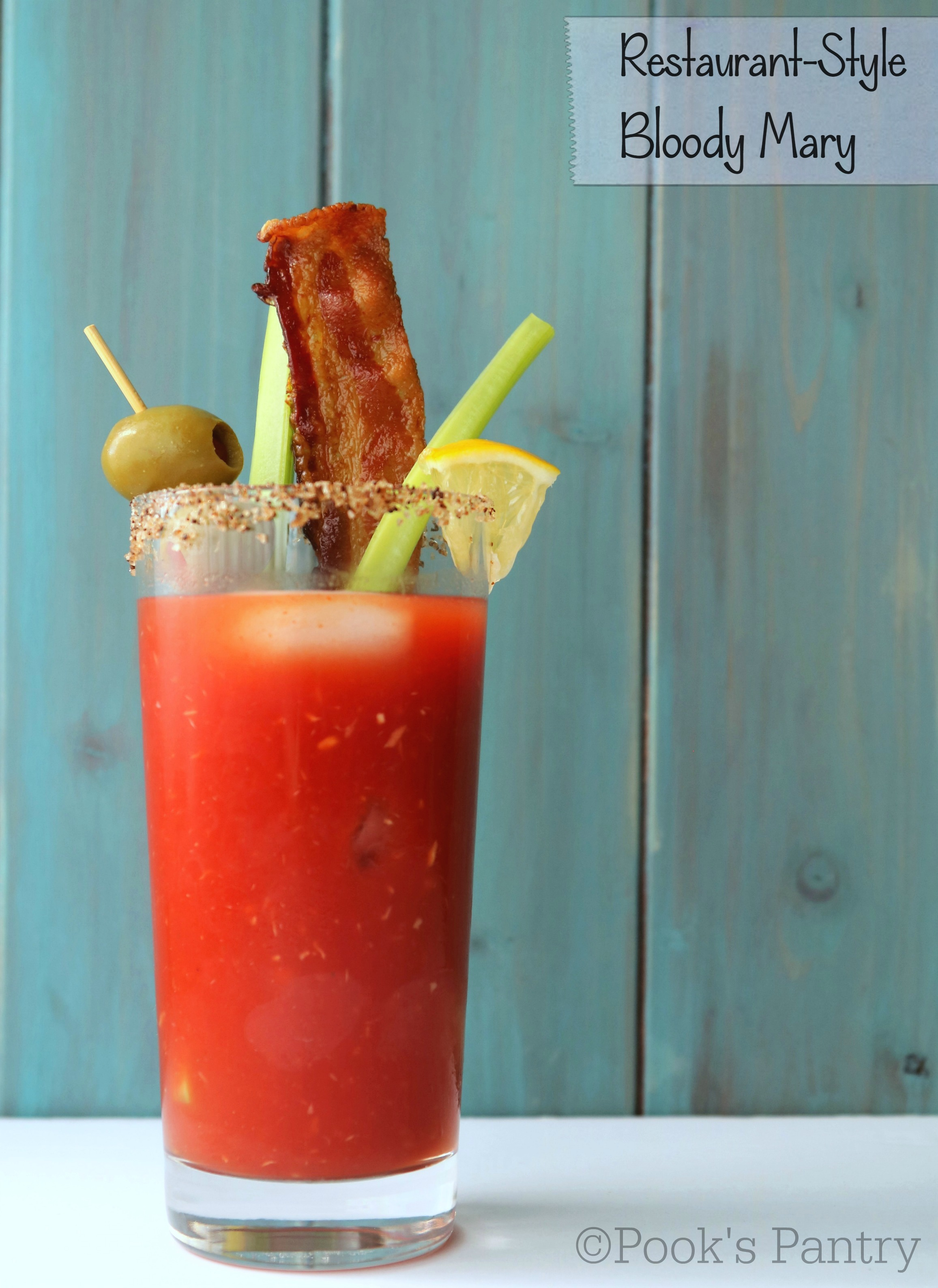 Restaurant Style Bloody Mary with blue background