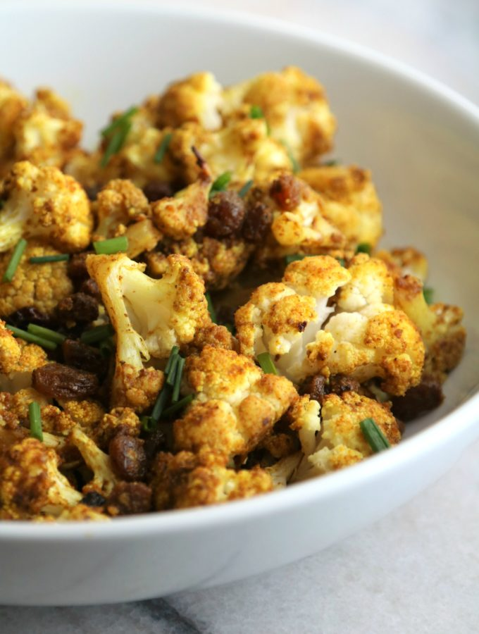 curried cauliflower with golden raisins