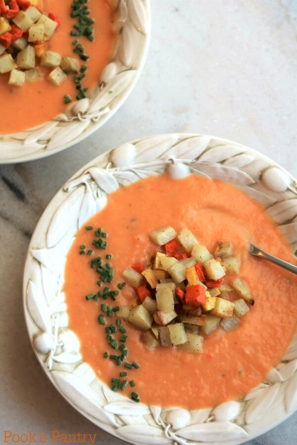 winter vegetable soup in pretty Italian bowls with veggie crouton garnish