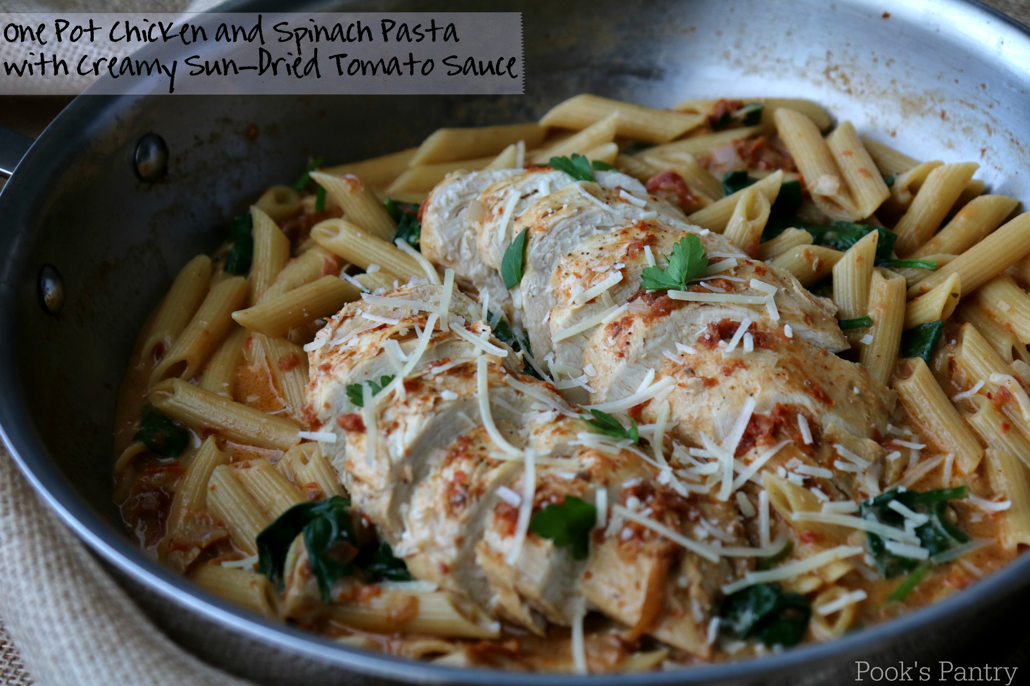 One Pot Chicken and Spinach Pasta with Sun-Dried Tomato Sauce