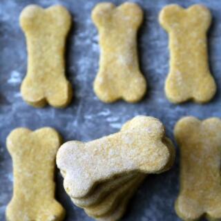 stacked dog treats on sheet pan