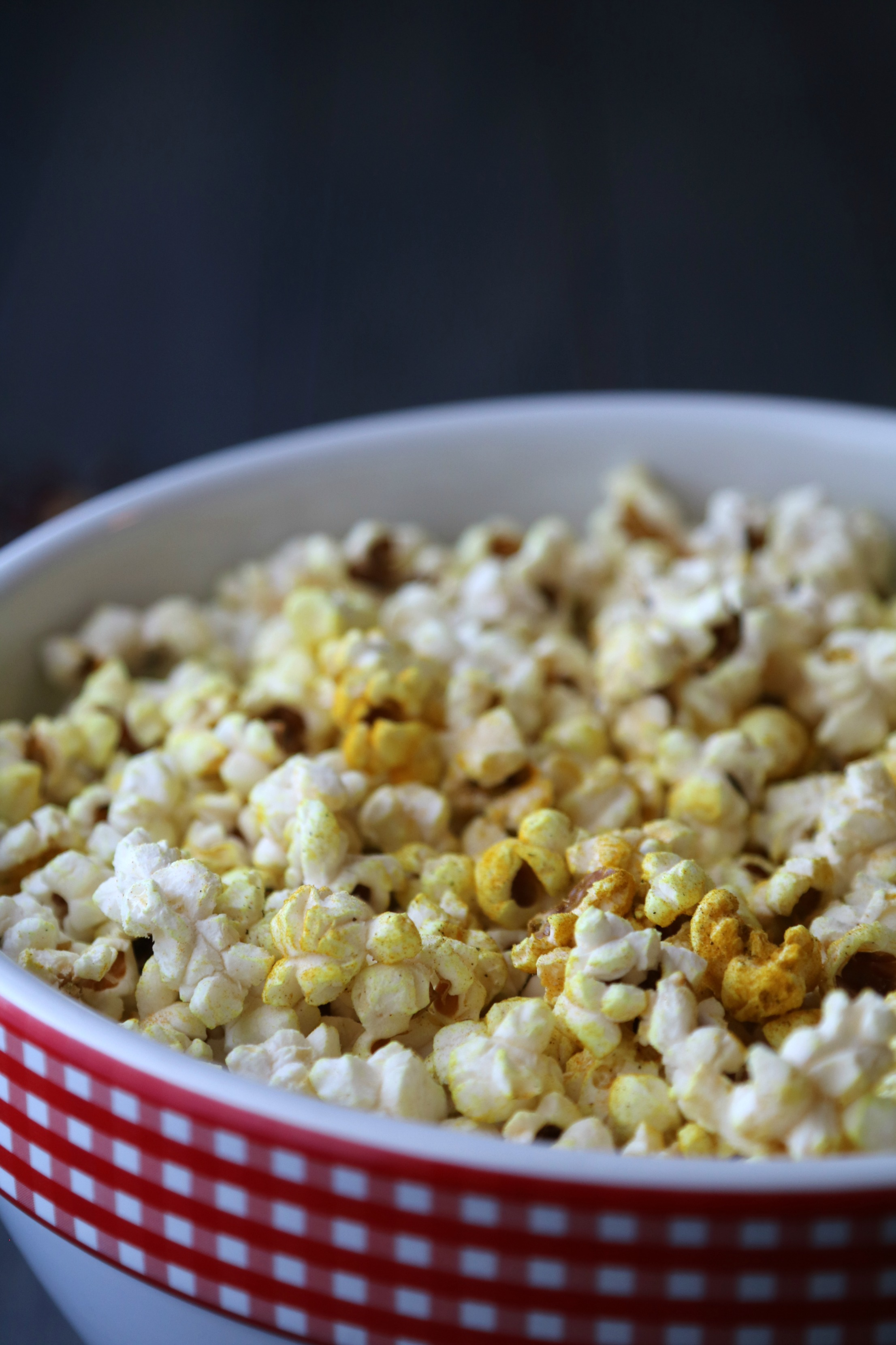 bowl of coconut oil popcorn with savory spice blend