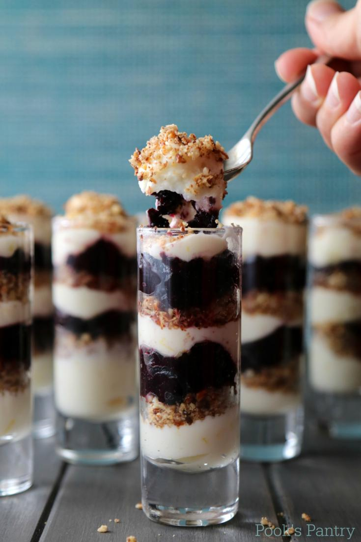 No Bake Blueberry Lemon Cheesecake Parfaits {Low Carb}